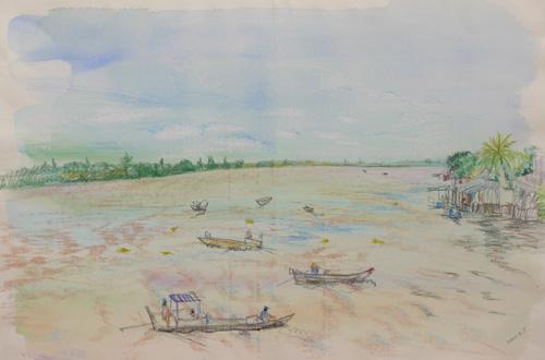 メコン川風景/木炭紙に水彩色鉛筆